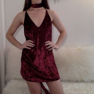 NWOT Maroon Crushed Velvet Dress